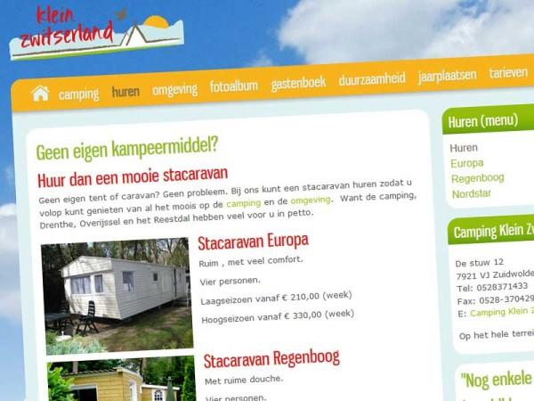 Camping Klein Zwitserland pagina verhuur caravans